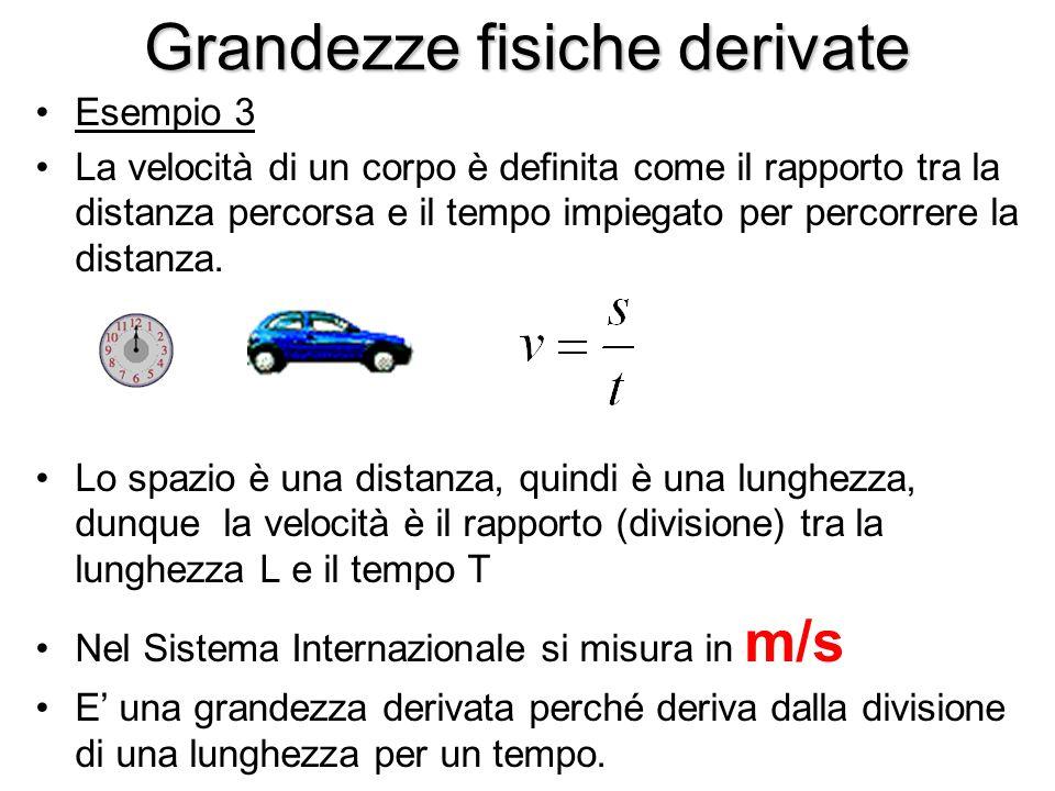 Grandezze fisiche derivate Esempio 3 La velocità di un corpo è definita come il rapporto tra la distanza percorsa e il tempo impiegato per percorrere