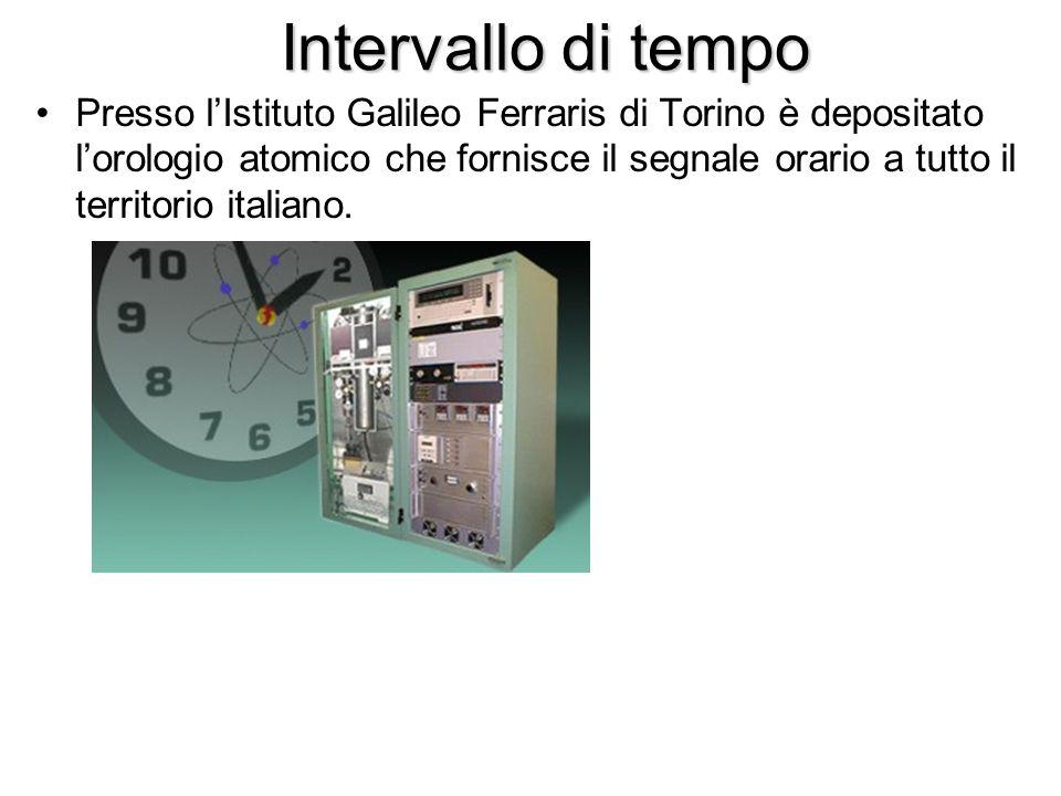 Intervallo di tempo Presso l'Istituto Galileo Ferraris di Torino è depositato l'orologio atomico che fornisce il segnale orario a tutto il territorio
