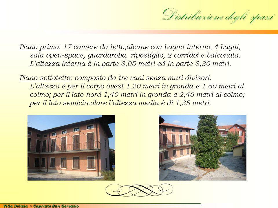 Villa Delizia ~ Capriate San Gervasio Distribuzione degli spazi Piano primo: 17 camere da letto,alcune con bagno interno, 4 bagni, sala open-space, gu