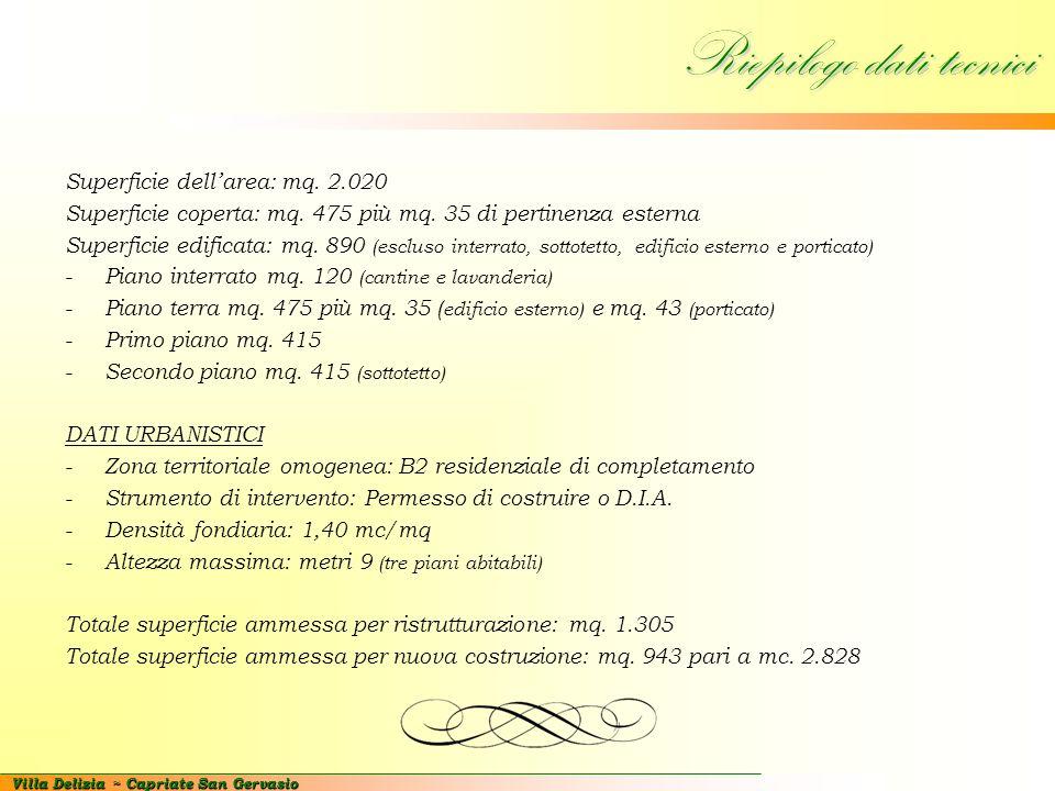 Villa Delizia ~ Capriate San Gervasio Riepilogo dati tecnici Superficie dell'area: mq. 2.020 Superficie coperta: mq. 475 più mq. 35 di pertinenza este