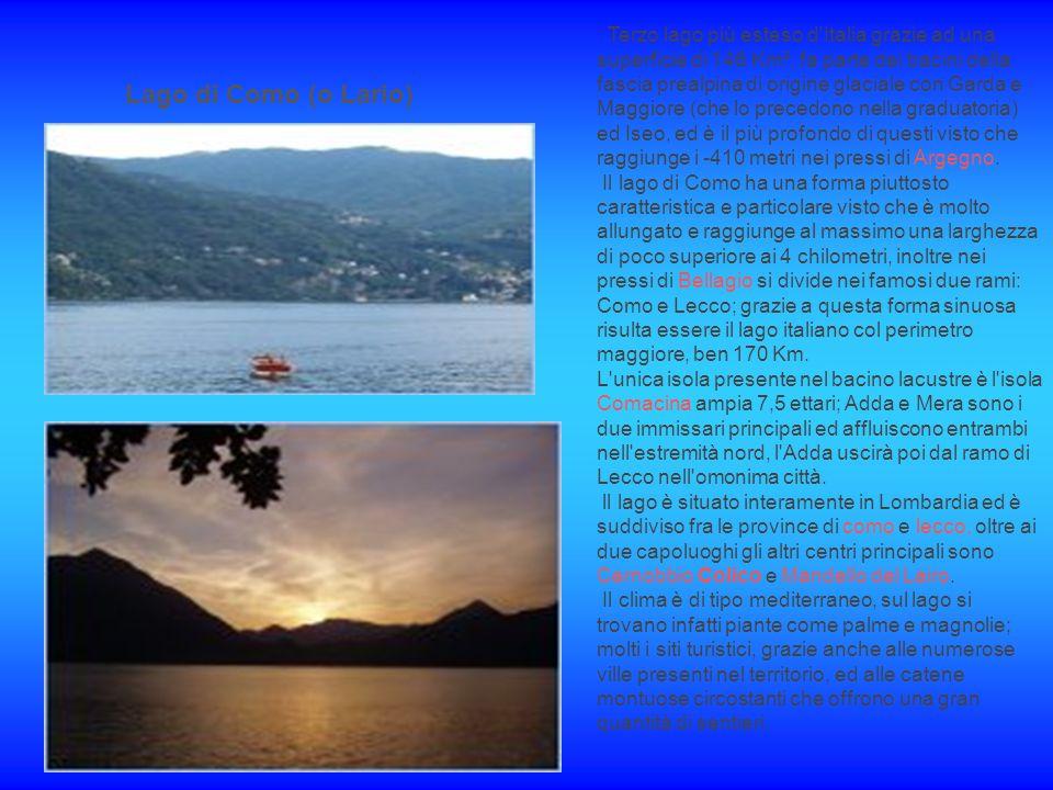Lago di Como (o Lario) Terzo lago più esteso d Italia grazie ad una superficie di 146 Km², fa parte dei bacini della fascia prealpina di origine glaciale con Garda e Maggiore (che lo precedono nella graduatoria) ed Iseo, ed è il più profondo di questi visto che raggiunge i -410 metri nei pressi di Argegno.