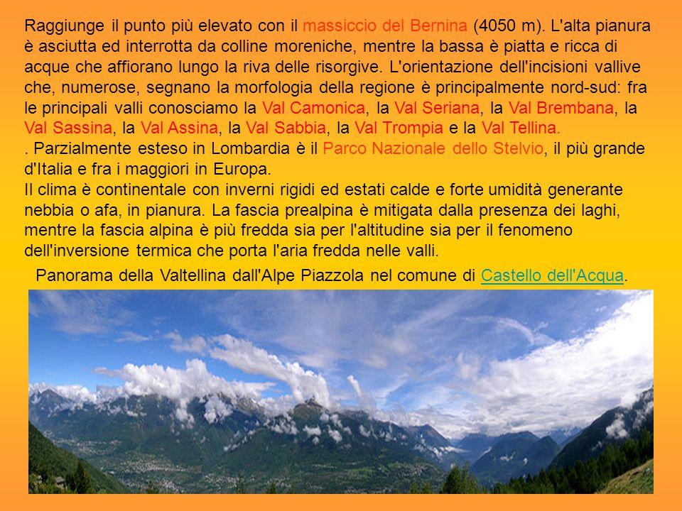 Raggiunge il punto più elevato con il massiccio del Bernina (4050 m). L'alta pianura è asciutta ed interrotta da colline moreniche, mentre la bassa è