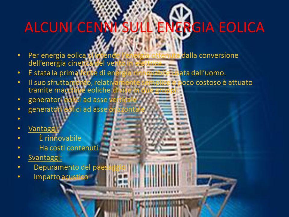 ALCUNI CENNI SULL ENERGIA EOLICA Per energia eolica si intende l'energia ottenuta dalla conversione dell'energia cinetica del vento in elettrica.