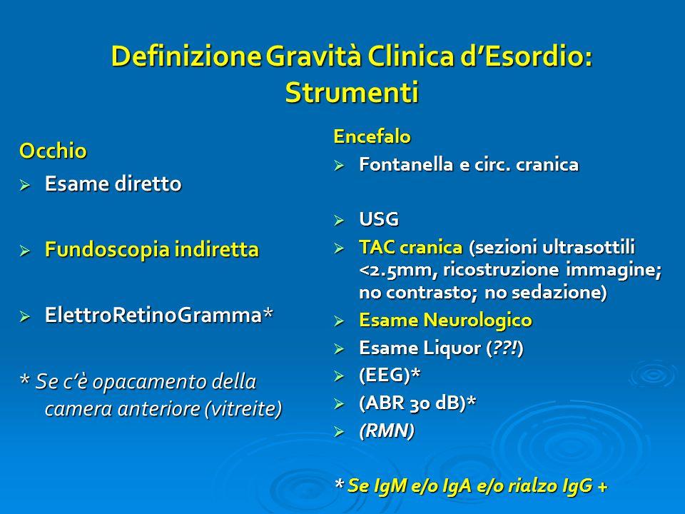 Definizione Gravità Clinica d'Esordio: Strumenti Occhio  Esame diretto  Fundoscopia indiretta  ElettroRetinoGramma* * Se c'è opacamento della camer