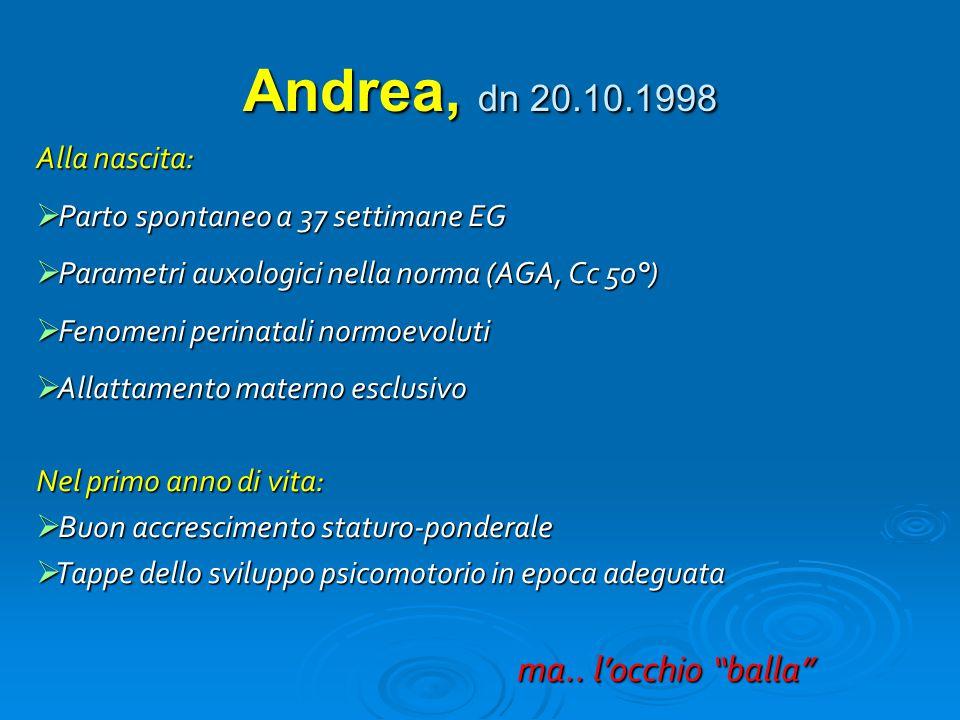 Andrea, dn 20.10.1998 Alla nascita:  Parto spontaneo a 37 settimane EG  Parametri auxologici nella norma (AGA, Cc 50°)  Fenomeni perinatali normoev
