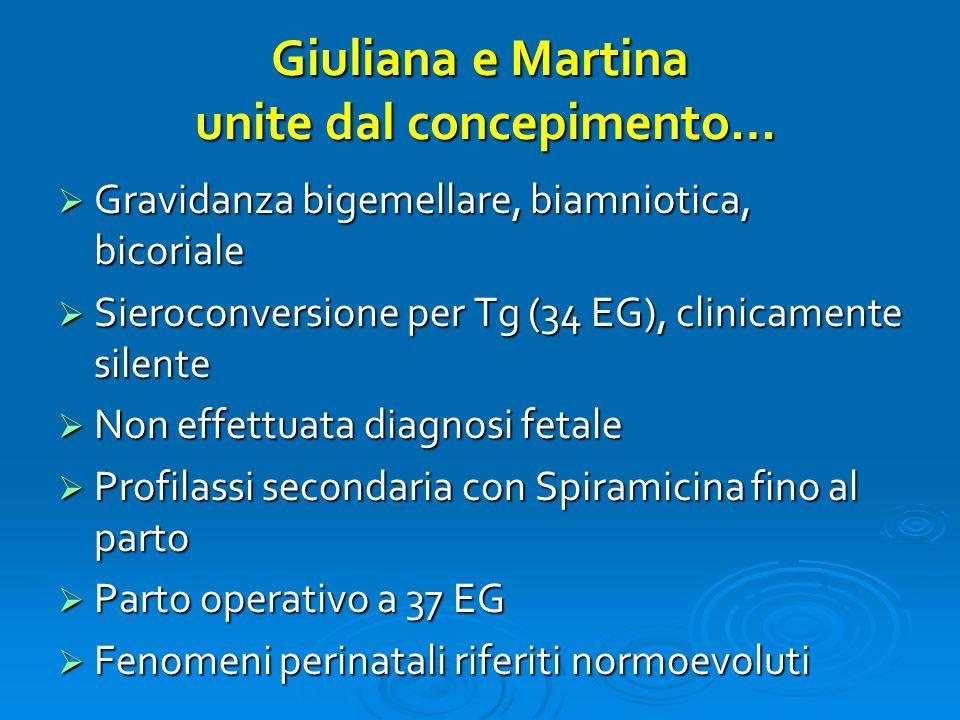Giuliana e Martina unite dal concepimento…  Gravidanza bigemellare, biamniotica, bicoriale  Sieroconversione per Tg (34 EG), clinicamente silente 