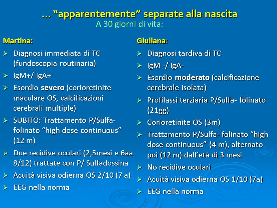"… ""apparentemente"" separate alla nascita Martina:  Diagnosi immediata di TC (fundoscopia routinaria)  IgM+/ IgA+  Esordio severo (corioretinite mac"