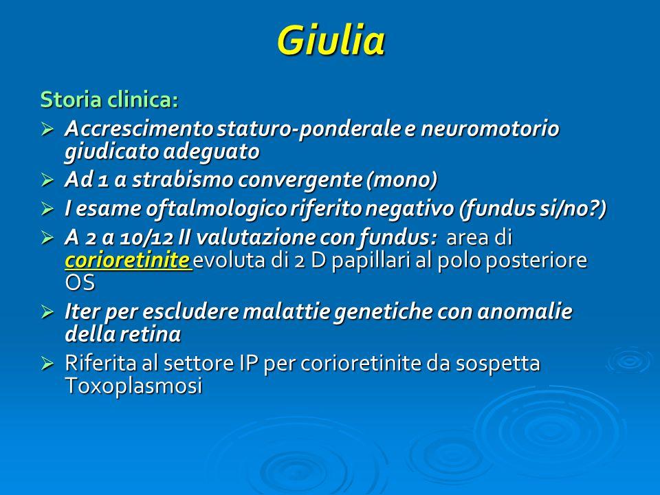Giulia Storia clinica:  Accrescimento staturo-ponderale e neuromotorio giudicato adeguato  Ad 1 a strabismo convergente (mono)  I esame oftalmologi