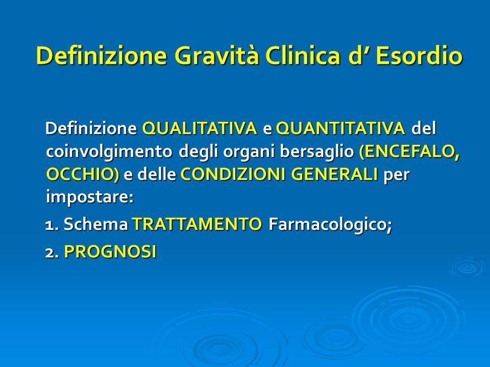 Definizione Gravità Clinica d' Esordio Definizione QUALITATIVA e QUANTITATIVA del coinvolgimento degli organi bersaglio (ENCEFALO, OCCHIO) e delle CONDIZIONI GENERALI per impostare: Definizione QUALITATIVA e QUANTITATIVA del coinvolgimento degli organi bersaglio (ENCEFALO, OCCHIO) e delle CONDIZIONI GENERALI per impostare: 1.