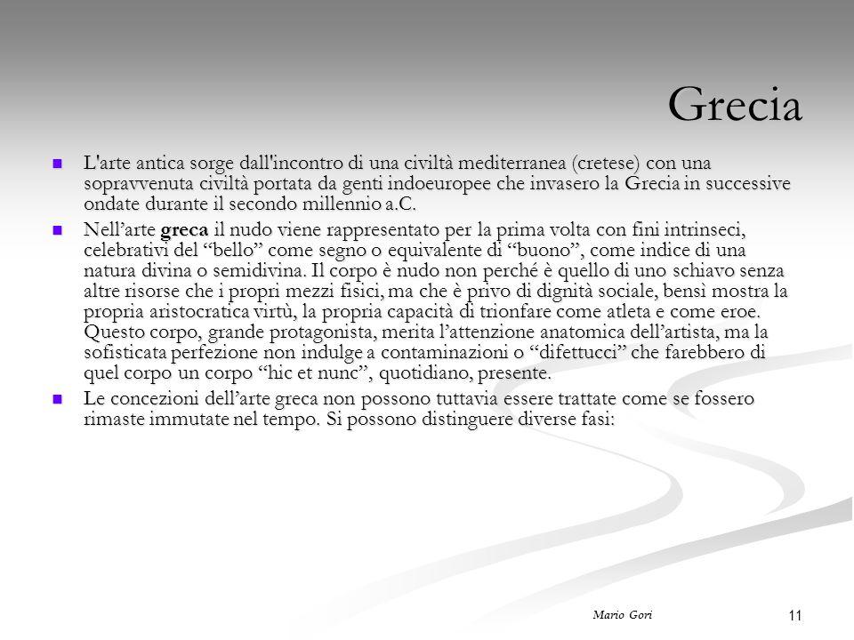 11 Mario Gori Grecia L'arte antica sorge dall'incontro di una civiltà mediterranea (cretese) con una sopravvenuta civiltà portata da genti indoeuropee