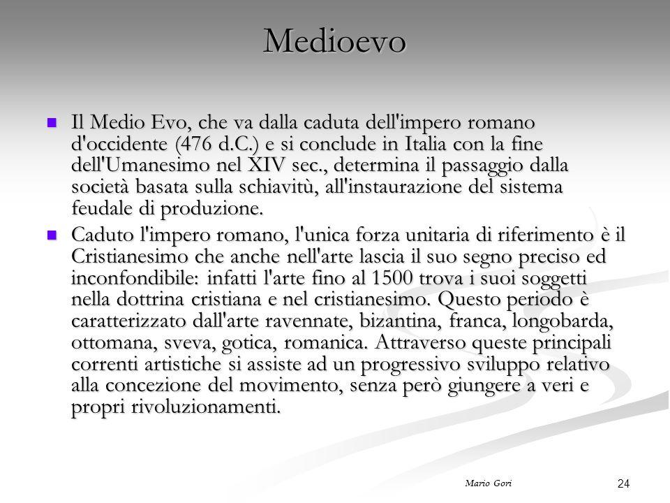 24 Mario Gori Medioevo Il Medio Evo, che va dalla caduta dell impero romano d occidente (476 d.C.) e si conclude in Italia con la fine dell Umanesimo nel XIV sec., determina il passaggio dalla società basata sulla schiavitù, all instaurazione del sistema feudale di produzione.