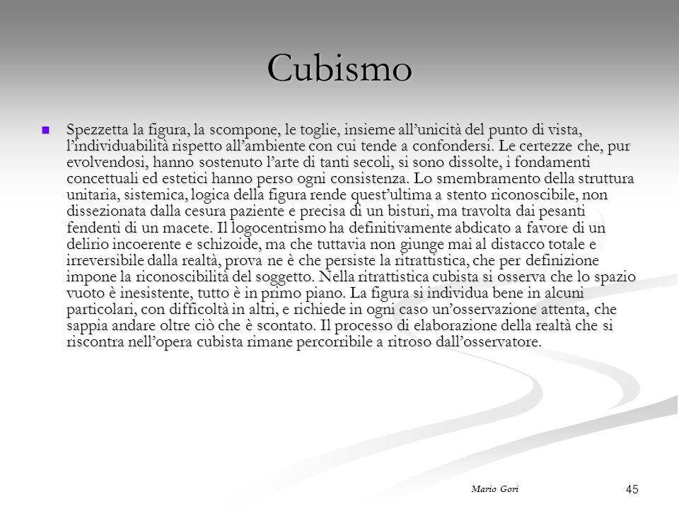 45 Mario Gori Cubismo Spezzetta la figura, la scompone, le toglie, insieme all'unicità del punto di vista, l'individuabilità rispetto all'ambiente con cui tende a confondersi.