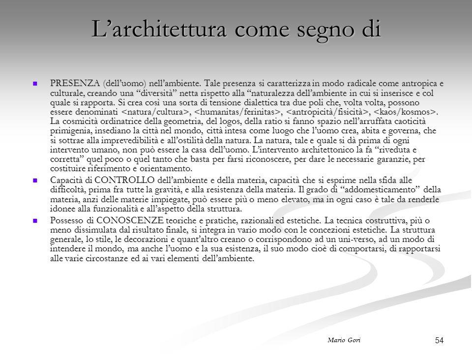 54 Mario Gori L'architettura come segno di PRESENZA (dell'uomo) nell'ambiente. Tale presenza si caratterizza in modo radicale come antropica e cultura