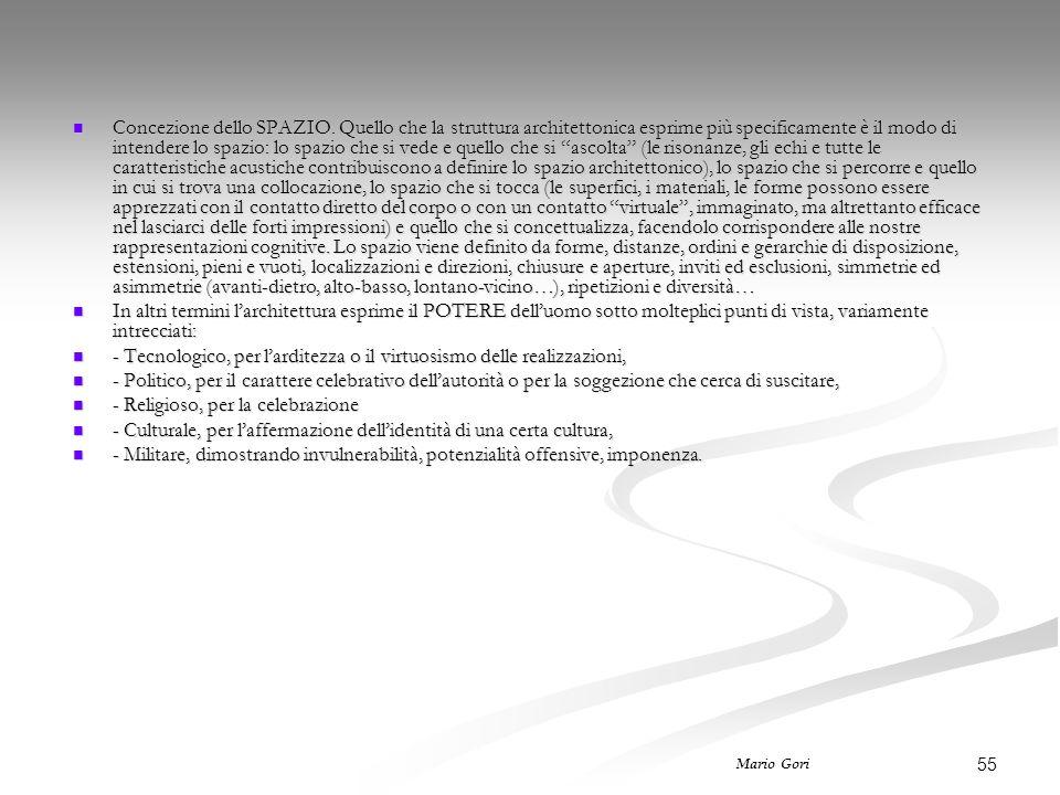 55 Mario Gori Concezione dello SPAZIO. Quello che la struttura architettonica esprime più specificamente è il modo di intendere lo spazio: lo spazio c