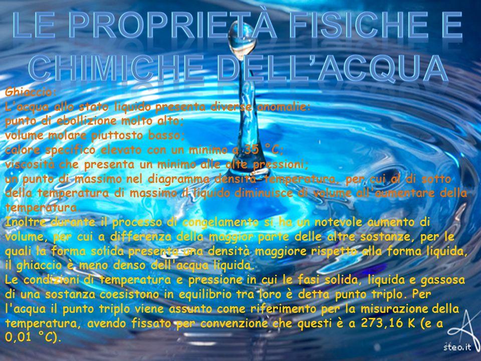 Ghiaccio: L'acqua allo stato liquido presenta diverse anomalie: punto di ebollizione molto alto; volume molare piuttosto basso; calore specifico eleva