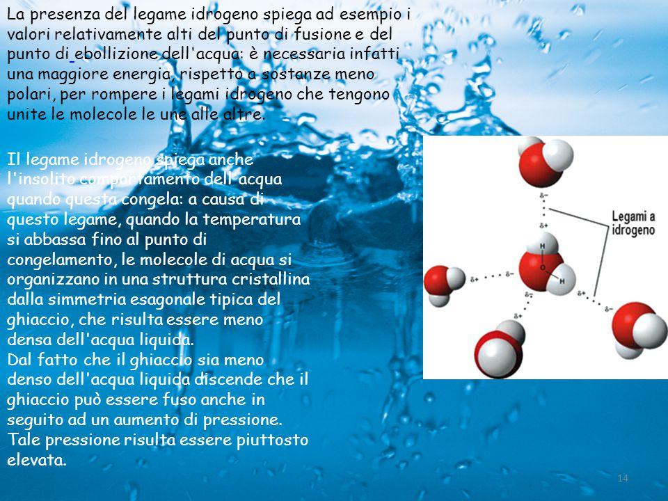 Il legame idrogeno spiega anche l'insolito comportamento dell'acqua quando questa congela: a causa di questo legame, quando la temperatura si abbassa