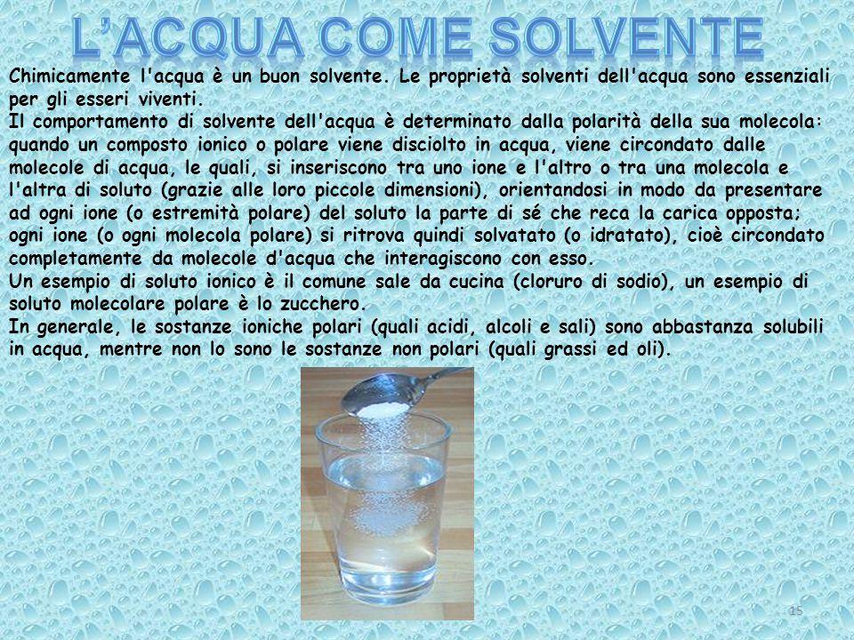 Chimicamente l'acqua è un buon solvente. Le proprietà solventi dell'acqua sono essenziali per gli esseri viventi. Il comportamento di solvente dell'ac