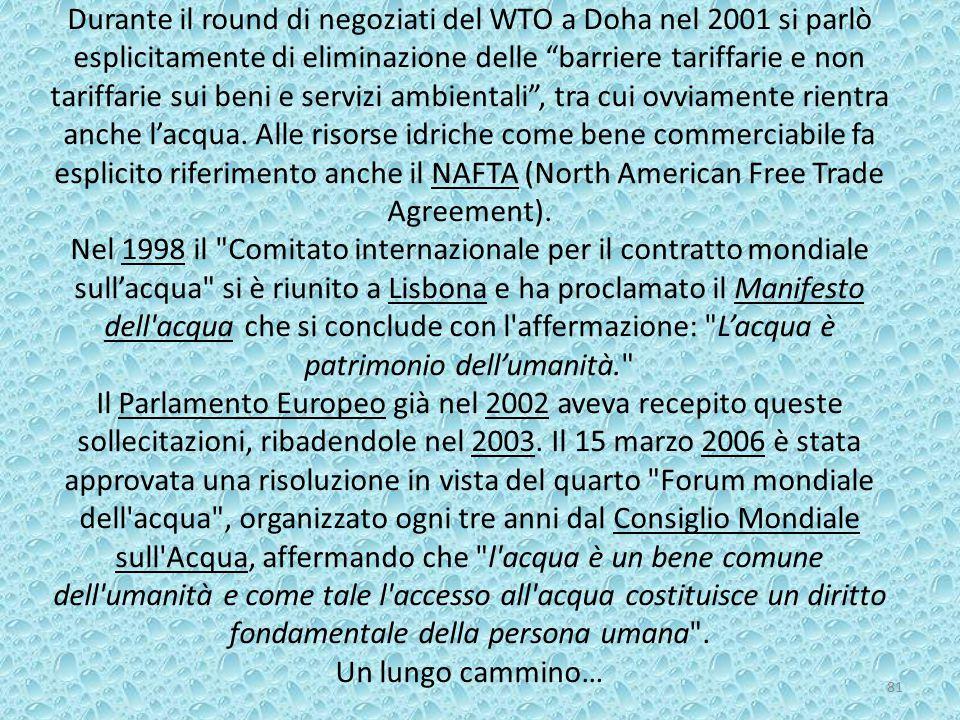 """Durante il round di negoziati del WTO a Doha nel 2001 si parlò esplicitamente di eliminazione delle """"barriere tariffarie e non tariffarie sui beni e s"""