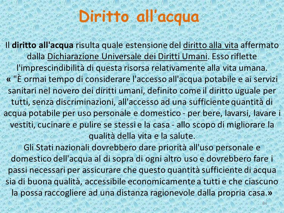 Il diritto all'acqua risulta quale estensione del diritto alla vita affermato dalla Dichiarazione Universale dei Diritti Umani. Esso riflette l'impres