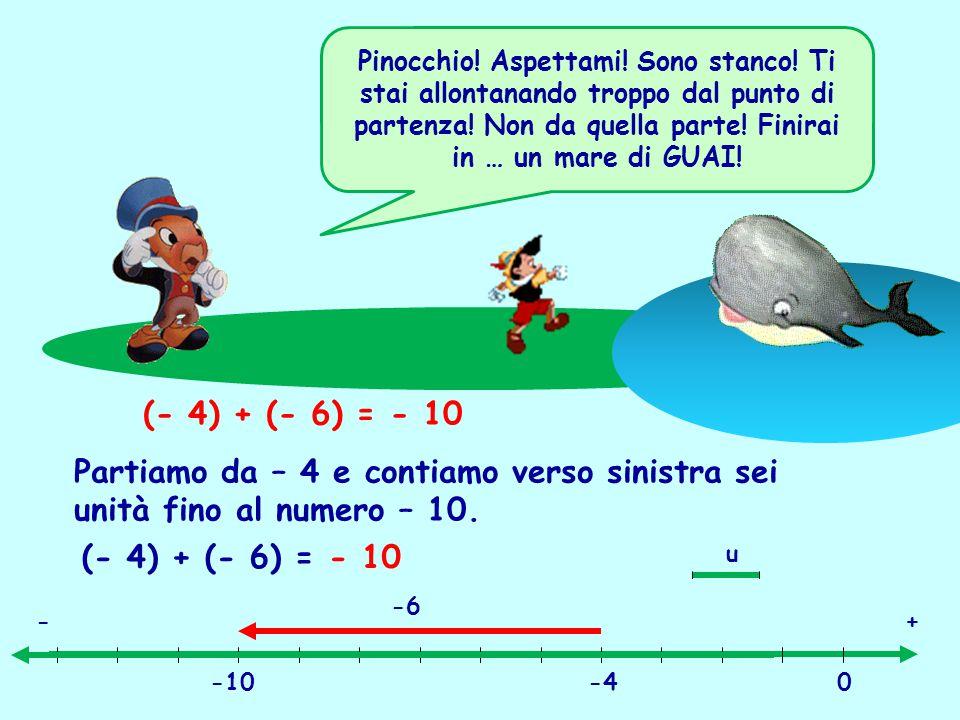 (- 4) + (- 6) = - 10 Partiamo da – 4 e contiamo verso sinistra sei unità fino al numero – 10. (- 4) + (- 6) = - 10 u +- 0-4-10 -6 Pinocchio! Aspettami