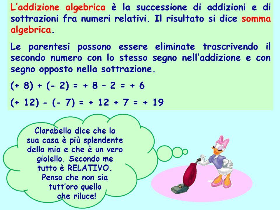 L'addizione algebrica è la successione di addizioni e di sottrazioni fra numeri relativi. Il risultato si dice somma algebrica. Le parentesi possono e