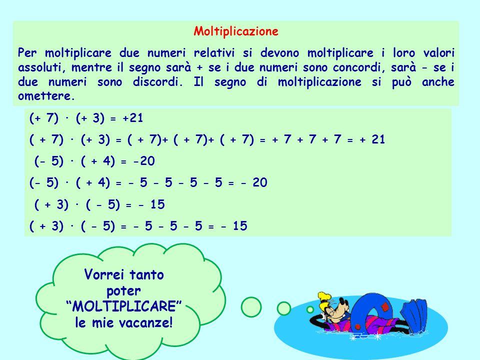 Moltiplicazione Per moltiplicare due numeri relativi si devono moltiplicare i loro valori assoluti, mentre il segno sarà + se i due numeri sono concor