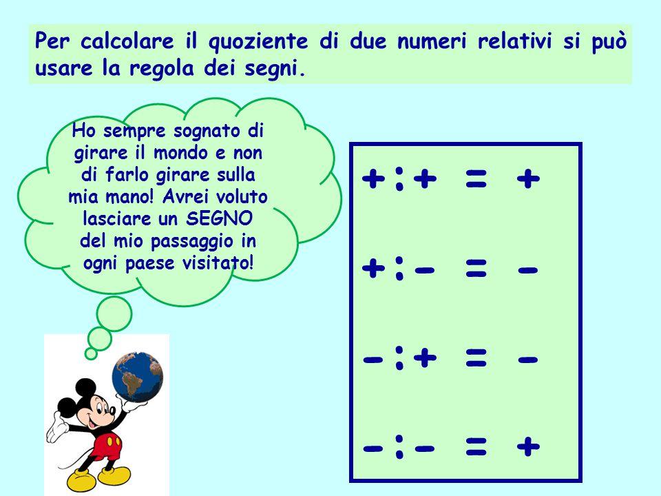 Per calcolare il quoziente di due numeri relativi si può usare la regola dei segni. +:+ = + +:- = - -:+ = - -:- = + Ho sempre sognato di girare il mon