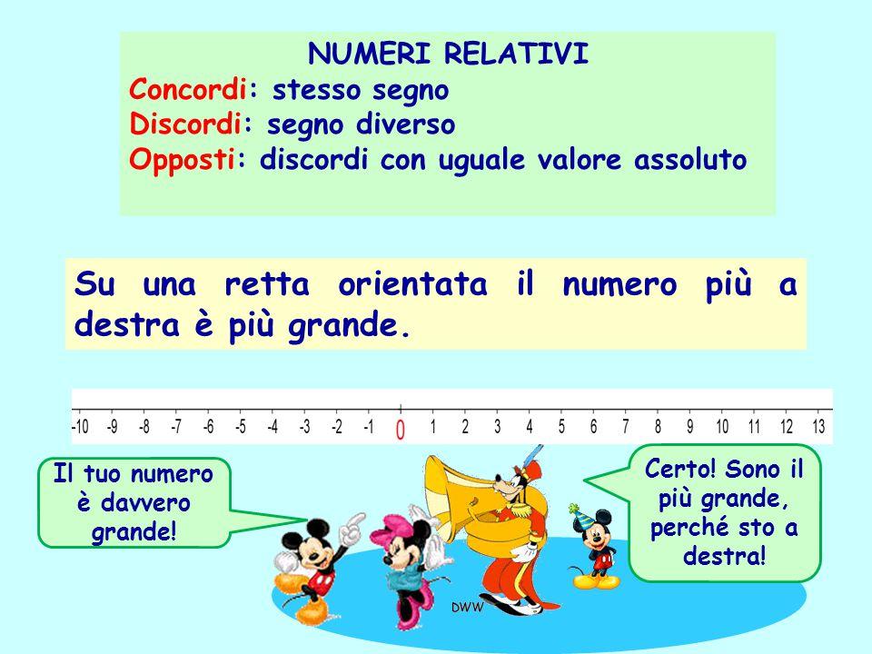 NUMERI RELATIVI Concordi: stesso segno Discordi: segno diverso Opposti: discordi con uguale valore assoluto Su una retta orientata il numero più a des