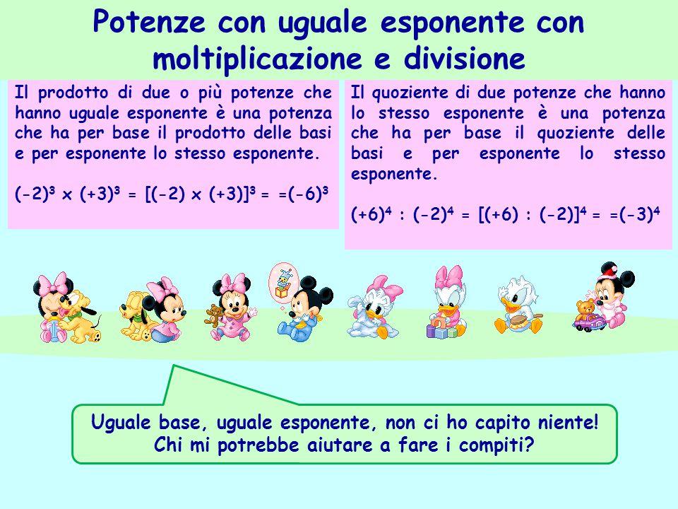 Il prodotto di due o più potenze che hanno uguale esponente è una potenza che ha per base il prodotto delle basi e per esponente lo stesso esponente.