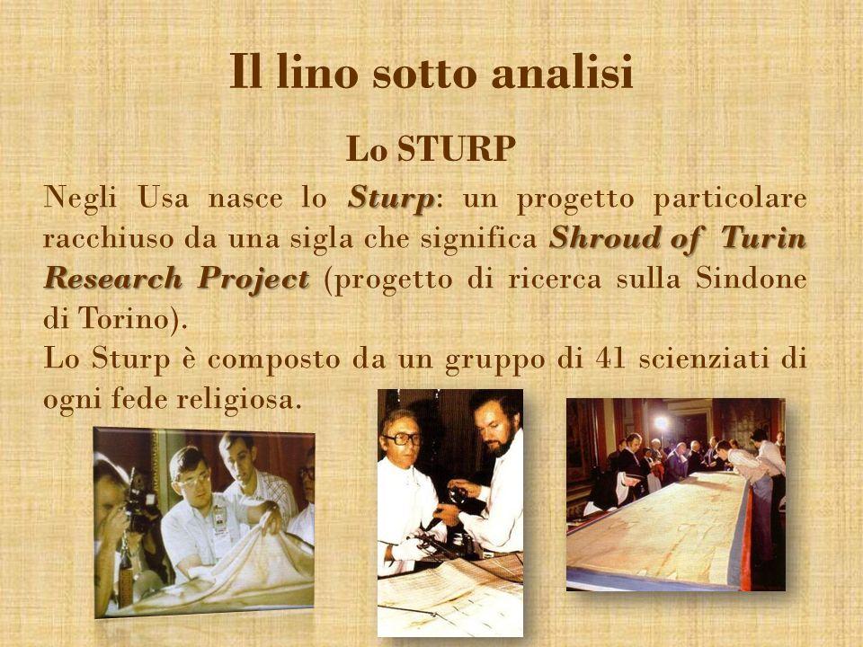 Il lino sotto analisi Lo STURP Sturp Shroud of Turin Research Project Negli Usa nasce lo Sturp: un progetto particolare racchiuso da una sigla che sig