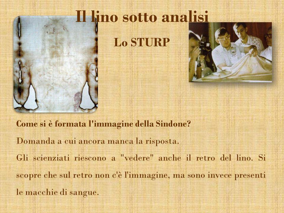 Il lino sotto analisi Lo STURP Come si è formata l'immagine della Sindone? Domanda a cui ancora manca la risposta. Gli scienziati riescono a