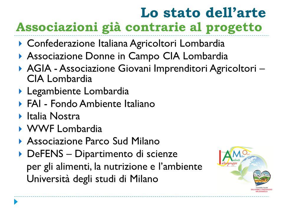 Lo stato dell'arte Associazioni già contrarie al progetto  Confederazione Italiana Agricoltori Lombardia  Associazione Donne in Campo CIA Lombardia