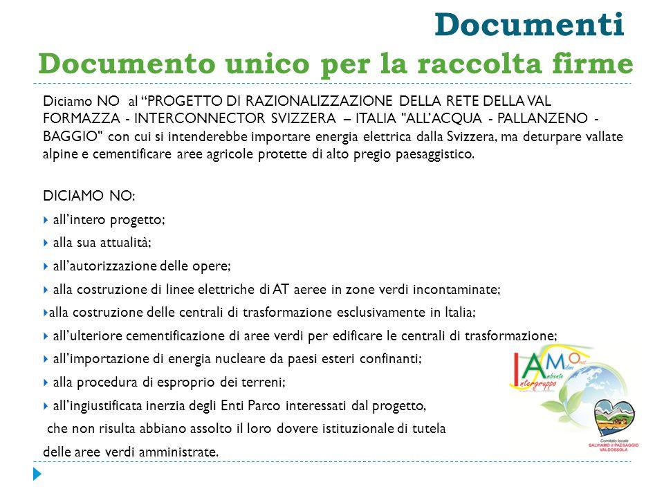 """Documenti Diciamo NO al """"PROGETTO DI RAZIONALIZZAZIONE DELLA RETE DELLA VAL FORMAZZA - INTERCONNECTOR SVIZZERA – ITALIA"""