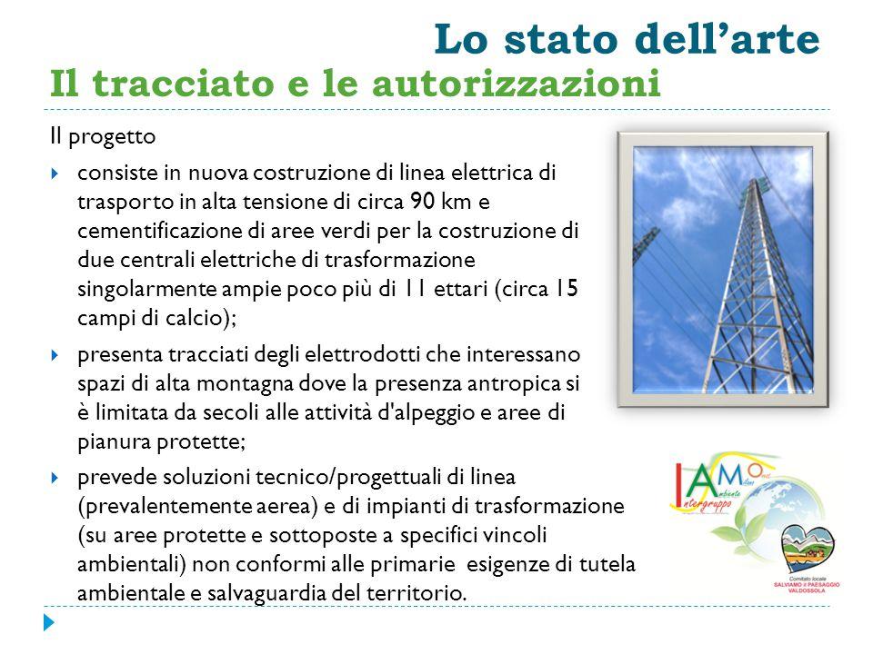 Lo stato dell'arte Il progetto  consiste in nuova costruzione di linea elettrica di trasporto in alta tensione di circa 90 km e cementificazione di a