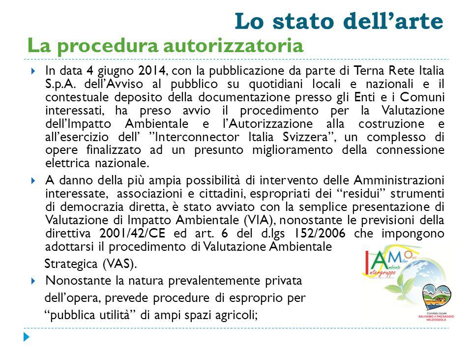 Lo stato dell'arte  In data 4 giugno 2014, con la pubblicazione da parte di Terna Rete Italia S.p.A. dell'Avviso al pubblico su quotidiani locali e n