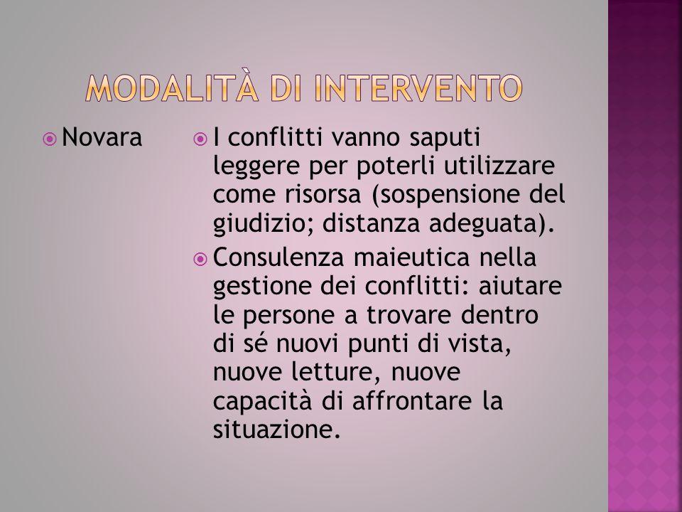  Novara  I conflitti vanno saputi leggere per poterli utilizzare come risorsa (sospensione del giudizio; distanza adeguata).