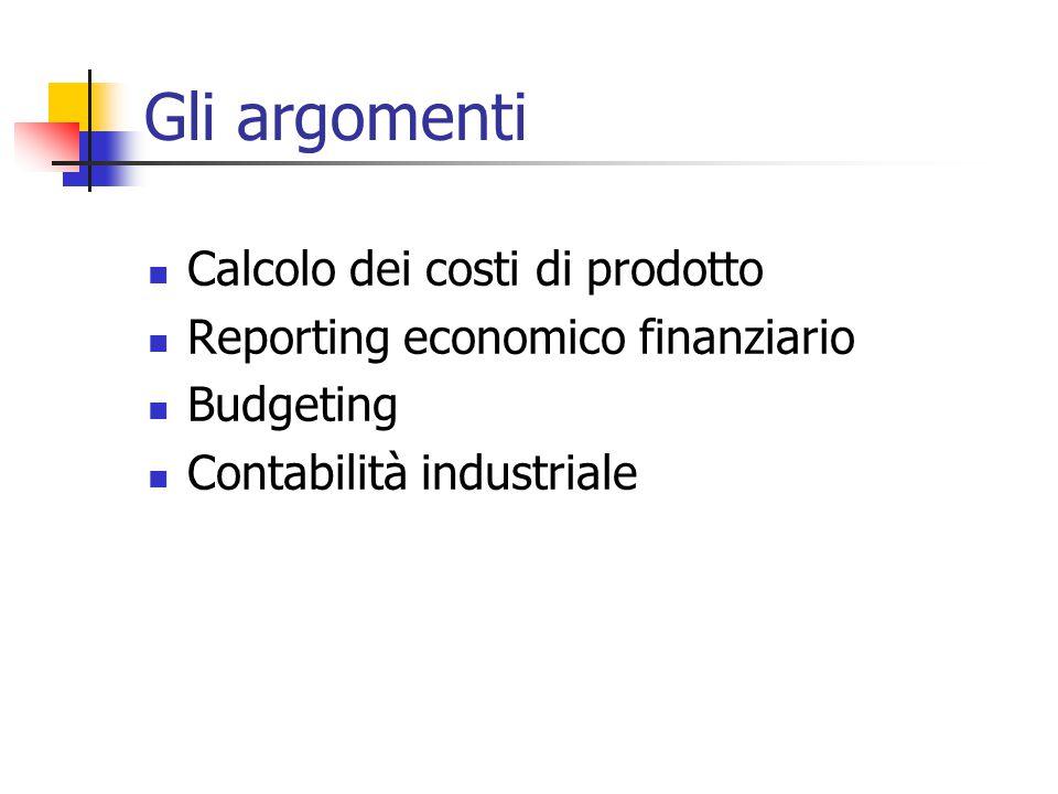 Gli argomenti Calcolo dei costi di prodotto Reporting economico finanziario Budgeting Contabilità industriale