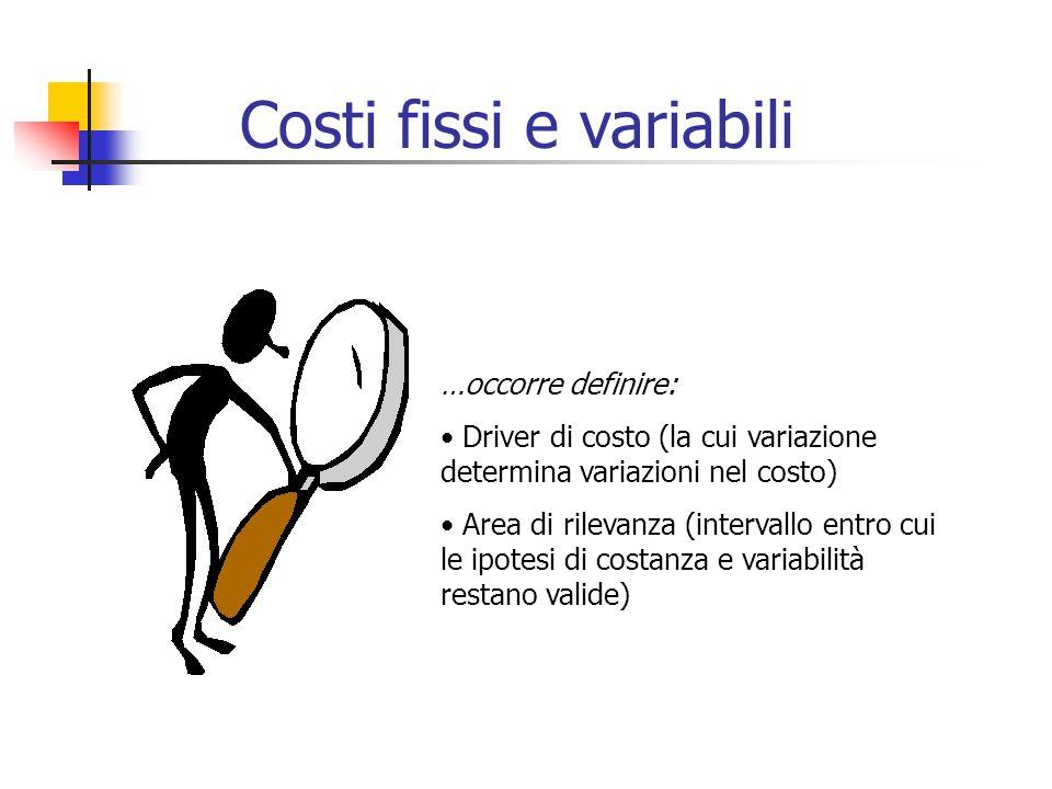 …occorre definire: Driver di costo (la cui variazione determina variazioni nel costo) Area di rilevanza (intervallo entro cui le ipotesi di costanza e
