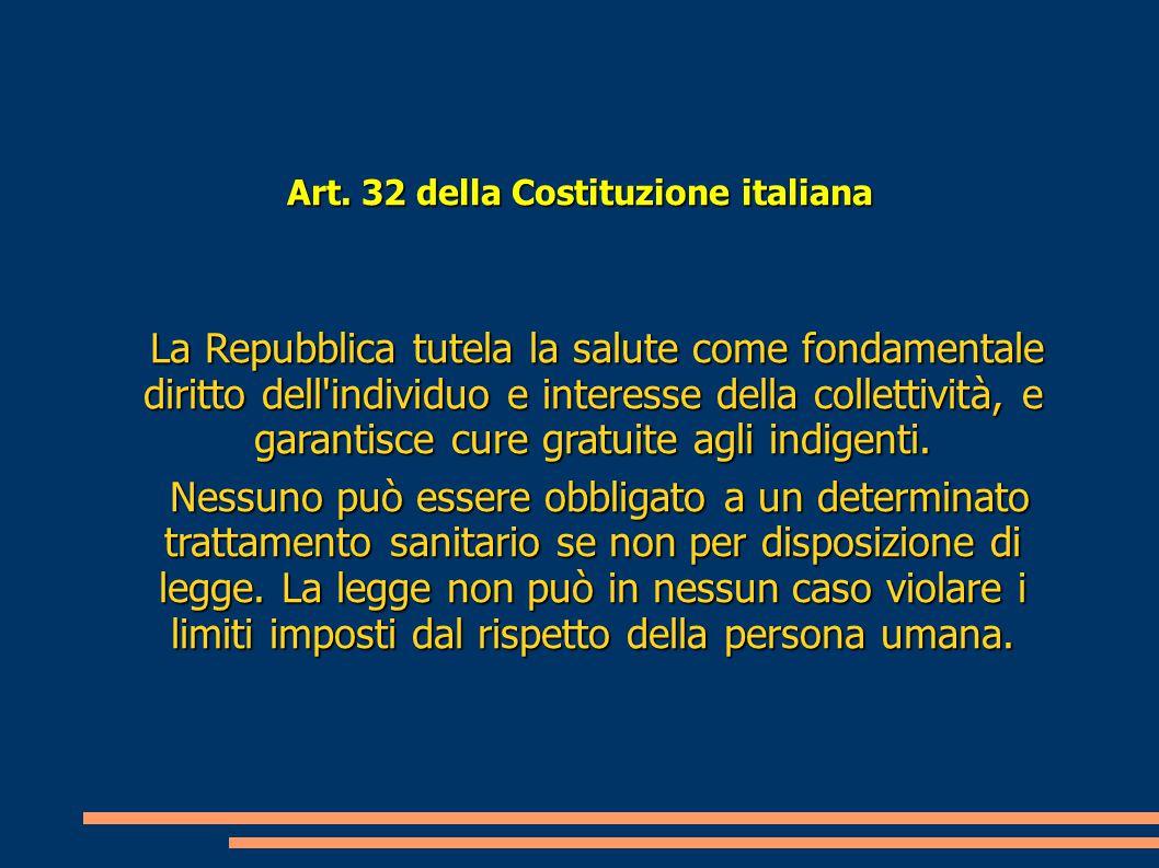 Art. 32 della Costituzione italiana La Repubblica tutela la salute come fondamentale diritto dell'individuo e interesse della collettività, e garantis