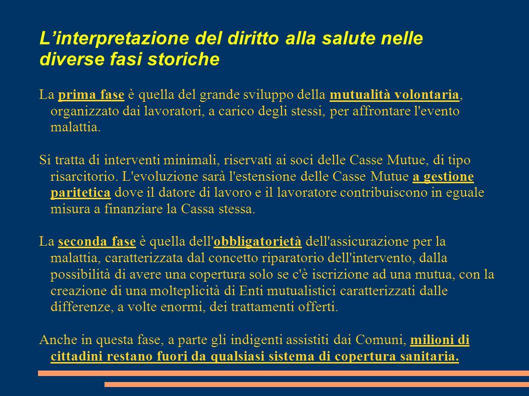 L'interpretazione del diritto alla salute nelle diverse fasi storiche La prima fase è quella del grande sviluppo della mutualità volontaria, organizza