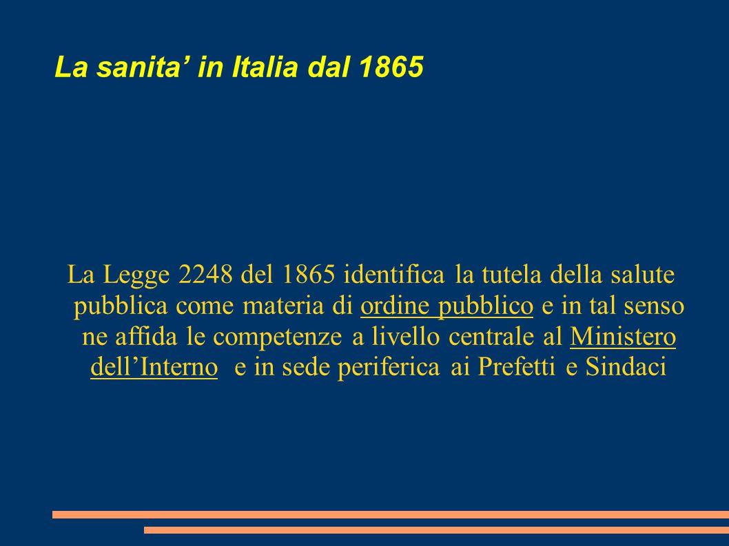La sanita' in Italia dal 1865 La Legge 2248 del 1865 identifica la tutela della salute pubblica come materia di ordine pubblico e in tal senso ne affi