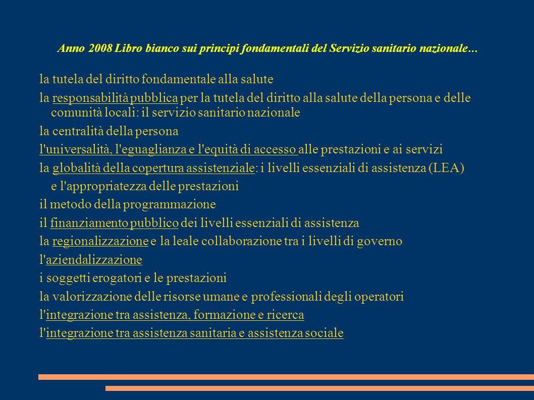 Anno 2008 Libro bianco sui principi fondamentali del Servizio sanitario nazionale … la tutela del diritto fondamentale alla salute la responsabilità p