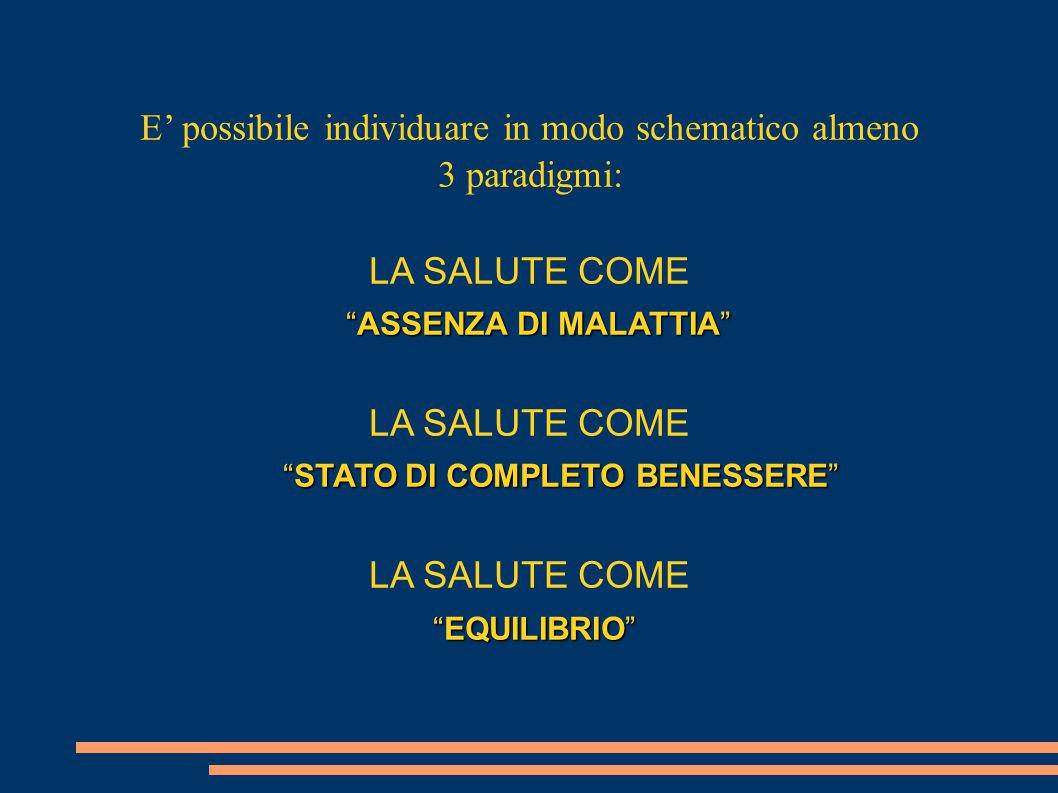 """E' possibile individuare in modo schematico almeno 3 paradigmi: LA SALUTE COME """"ASSENZA DI MALATTIA"""" LA SALUTE COME """"STATO DI COMPLETO BENESSERE"""" LA S"""