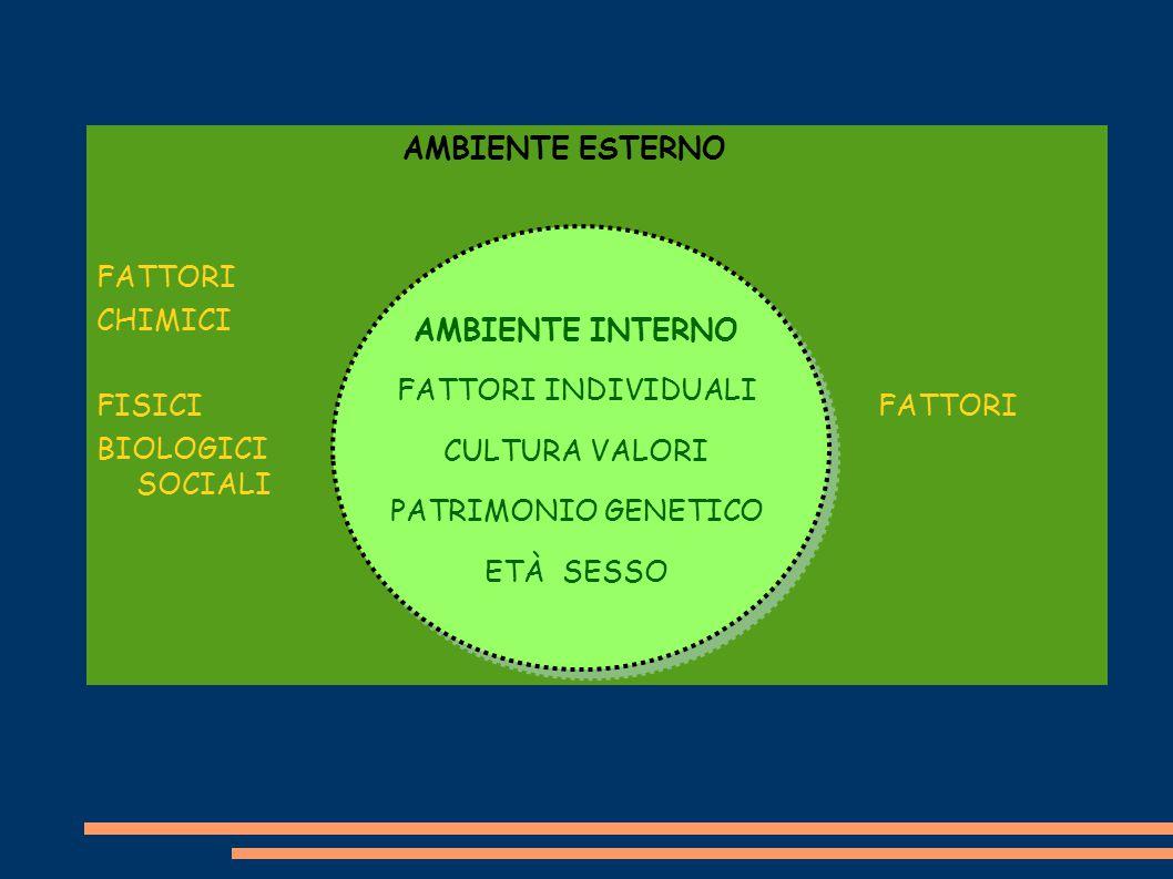 AMBIENTE ESTERNO FATTORI CHIMICI FISICI FATTORI BIOLOGICI SOCIALI AMBIENTE INTERNO FATTORI INDIVIDUALI CULTURA VALORI PATRIMONIO GENETICO ETÀ SESSO