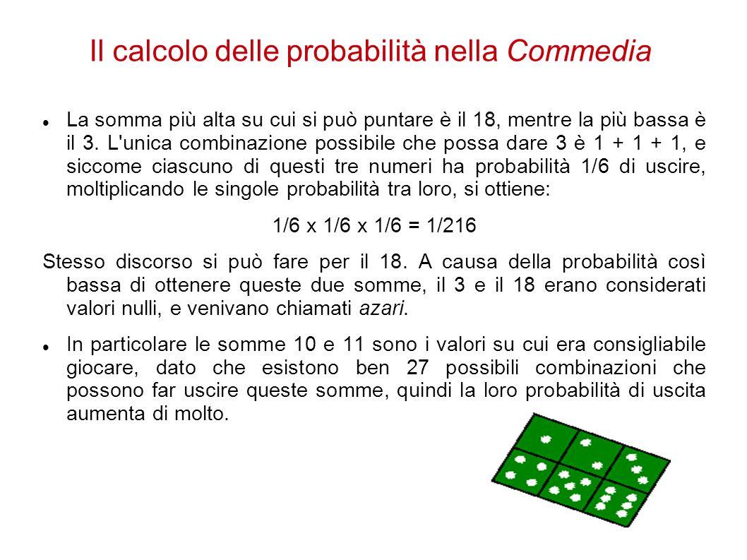 Il calcolo delle probabilità nella Commedia La somma più alta su cui si può puntare è il 18, mentre la più bassa è il 3. L'unica combinazione possibil