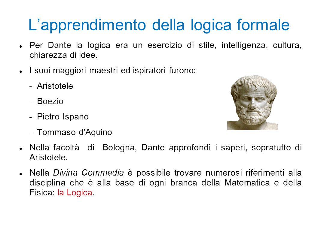 L'apprendimento della logica formale Per Dante la logica era un esercizio di stile, intelligenza, cultura, chiarezza di idee. I suoi maggiori maestri