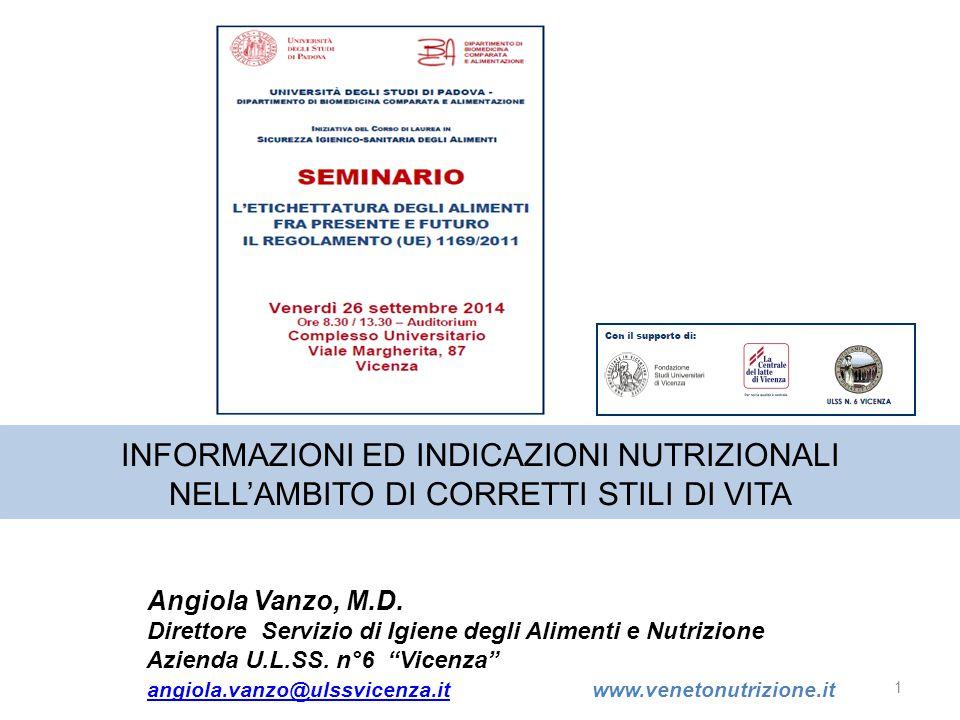 INFORMAZIONI ED INDICAZIONI NUTRIZIONALI NELL'AMBITO DI CORRETTI STILI DI VITA Angiola Vanzo, M.D.