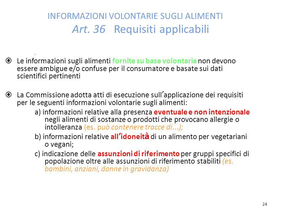 24 INFORMAZIONI VOLONTARIE SUGLI ALIMENTI Art.36 Requisiti applicabili.