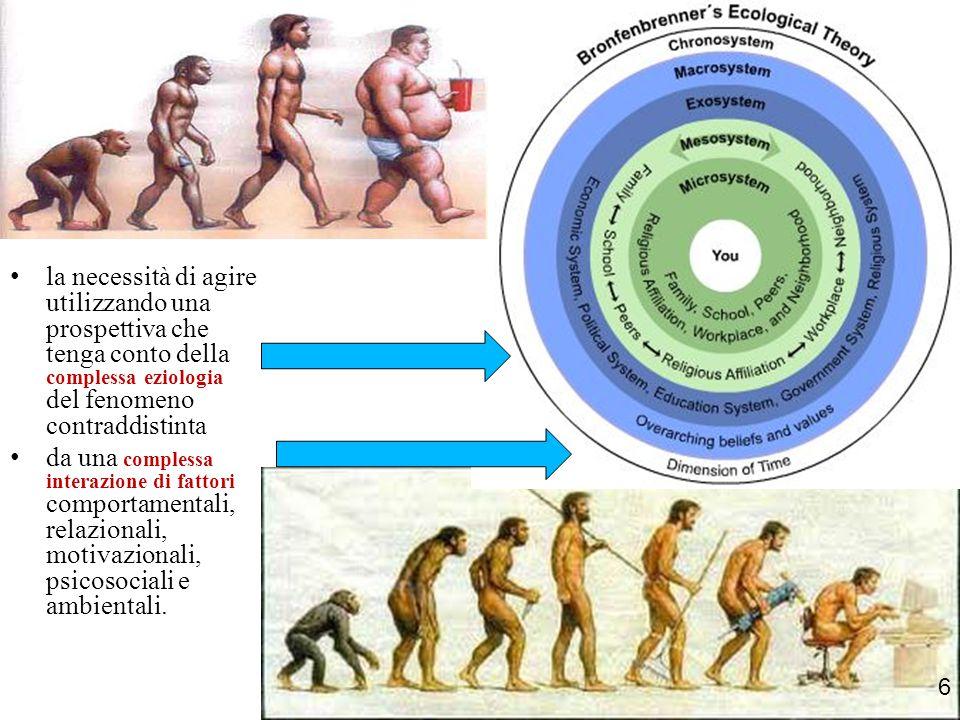 la necessità di agire utilizzando una prospettiva che tenga conto della complessa eziologia del fenomeno contraddistinta da una complessa interazione di fattori comportamentali, relazionali, motivazionali, psicosociali e ambientali.
