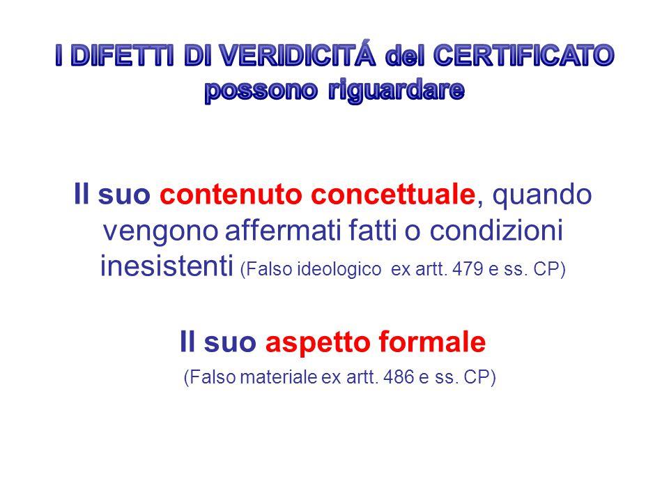 Il suo contenuto concettuale, quando vengono affermati fatti o condizioni inesistenti (Falso ideologico ex artt. 479 e ss. CP) Il suo aspetto formale
